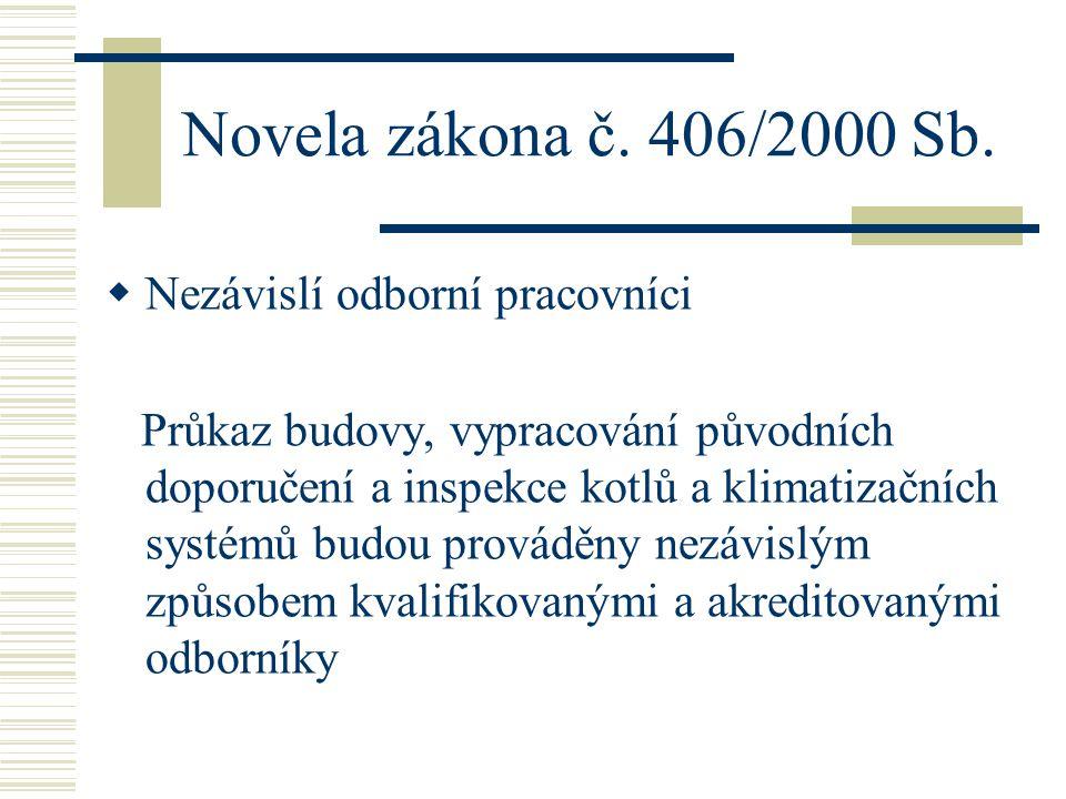 Novela zákona č. 406/2000 Sb. Nezávislí odborní pracovníci