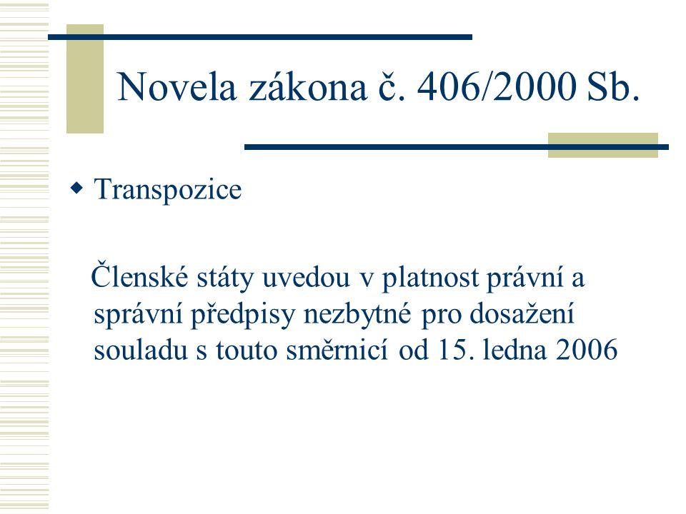 Novela zákona č. 406/2000 Sb. Transpozice