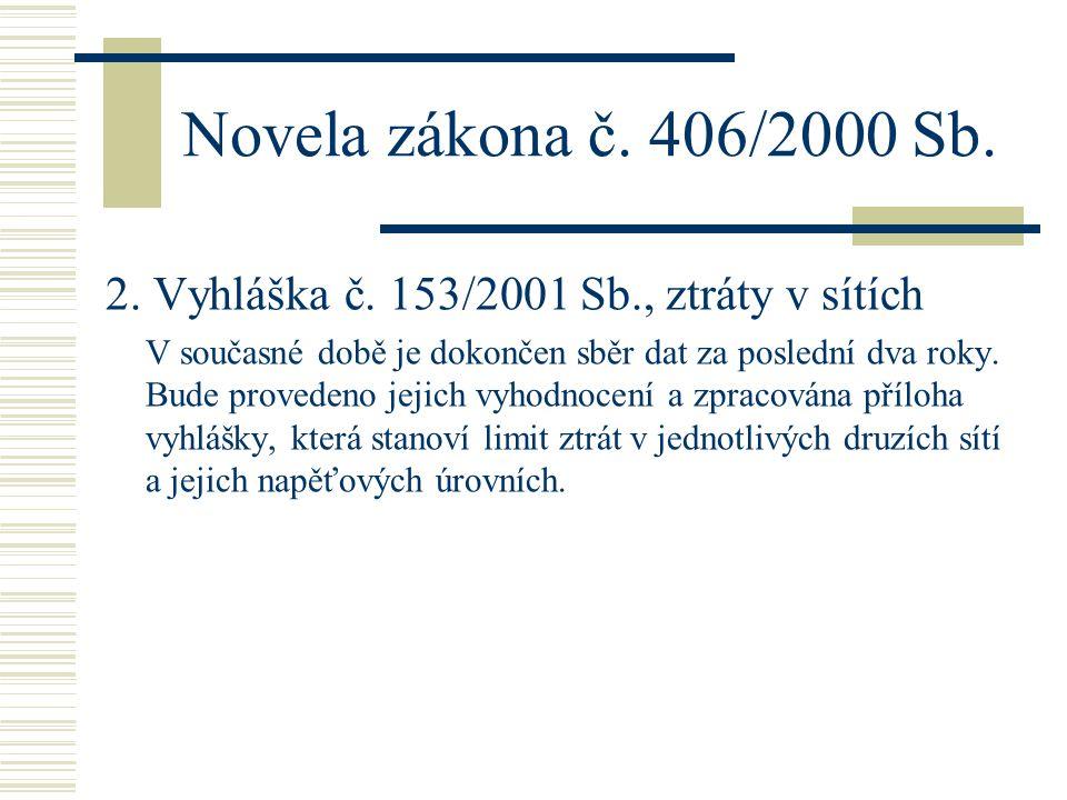 Novela zákona č. 406/2000 Sb. 2. Vyhláška č. 153/2001 Sb., ztráty v sítích.