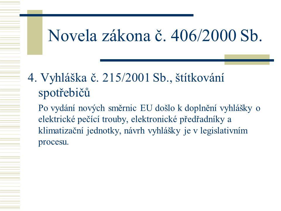 Novela zákona č. 406/2000 Sb. 4. Vyhláška č. 215/2001 Sb., štítkování spotřebičů.
