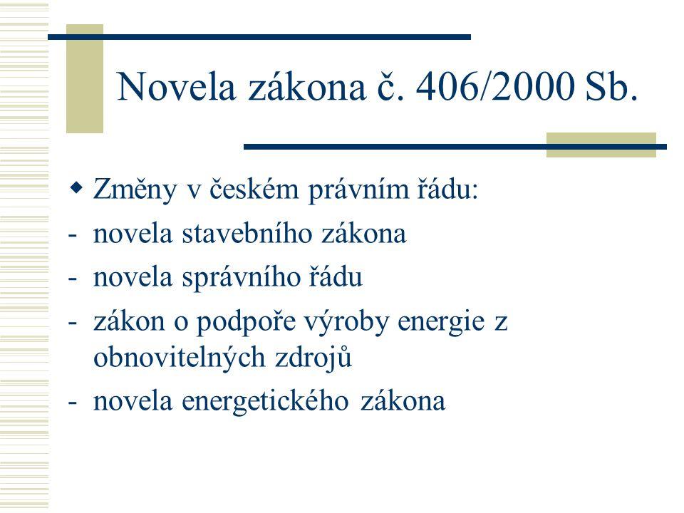 Novela zákona č. 406/2000 Sb. Změny v českém právním řádu:
