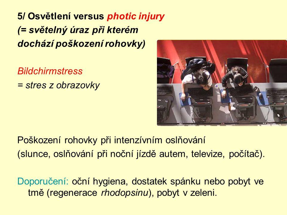 5/ Osvětlení versus photic injury (= světelný úraz při kterém dochází poškození rohovky) Bildchirmstress = stres z obrazovky Poškození rohovky při intenzívním oslňování (slunce, oslňování při noční jízdě autem, televize, počítač).