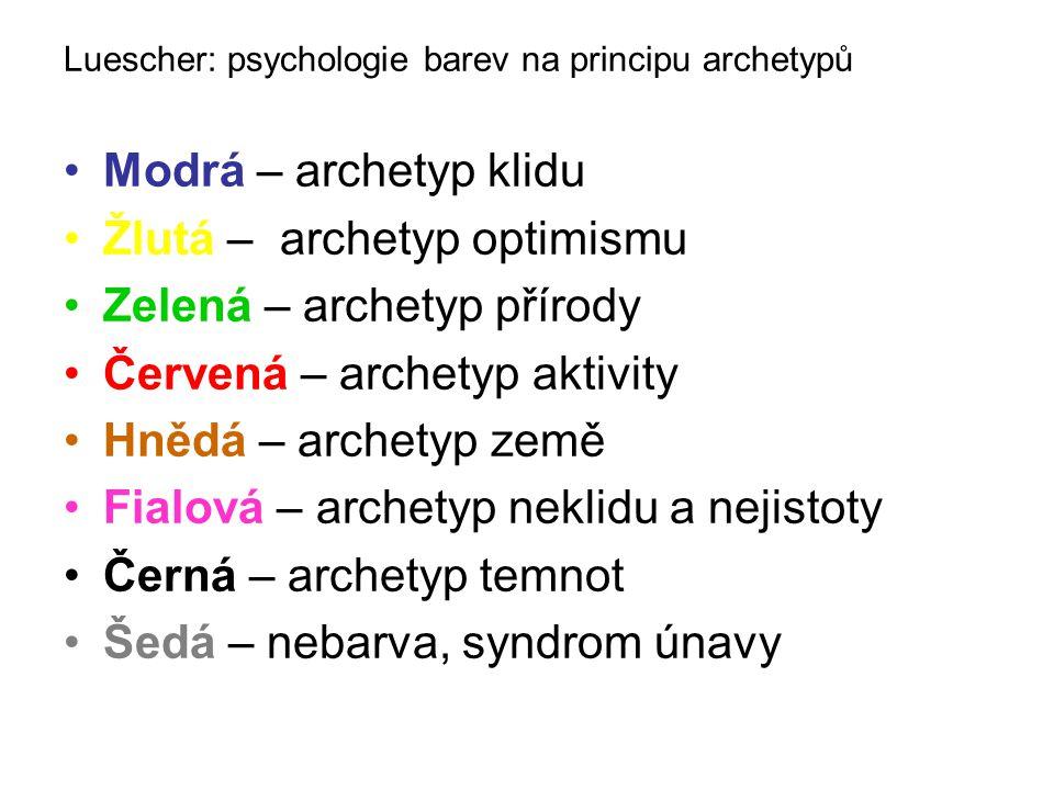 Žlutá – archetyp optimismu Zelená – archetyp přírody