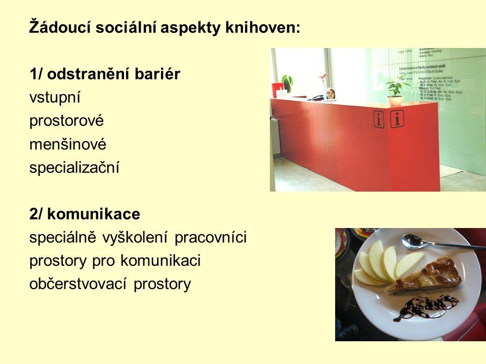 Žádoucí sociální aspekty knihoven: 1/ odstranění bariér vstupní prostorové menšinové specializační 2/ komunikace speciálně vyškolení pracovníci prostory pro komunikaci občerstvovací prostory
