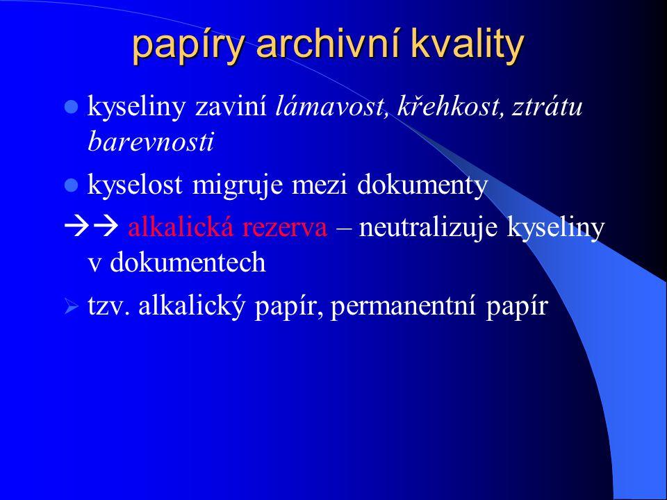 papíry archivní kvality