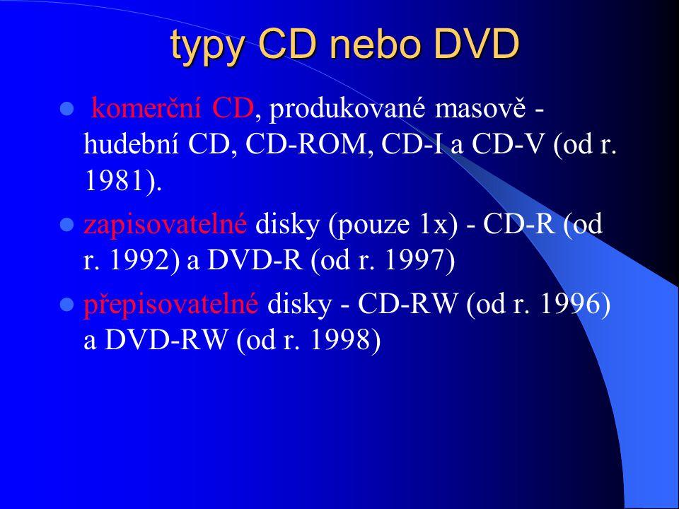 typy CD nebo DVD komerční CD, produkované masově - hudební CD, CD-ROM, CD-I a CD-V (od r. 1981).