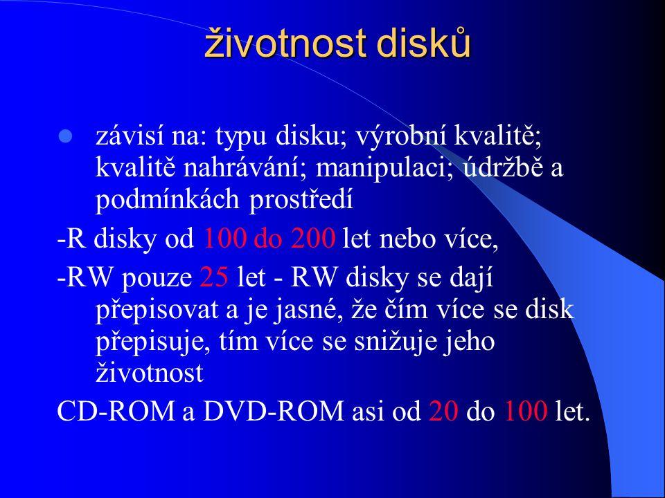 životnost disků závisí na: typu disku; výrobní kvalitě; kvalitě nahrávání; manipulaci; údržbě a podmínkách prostředí.