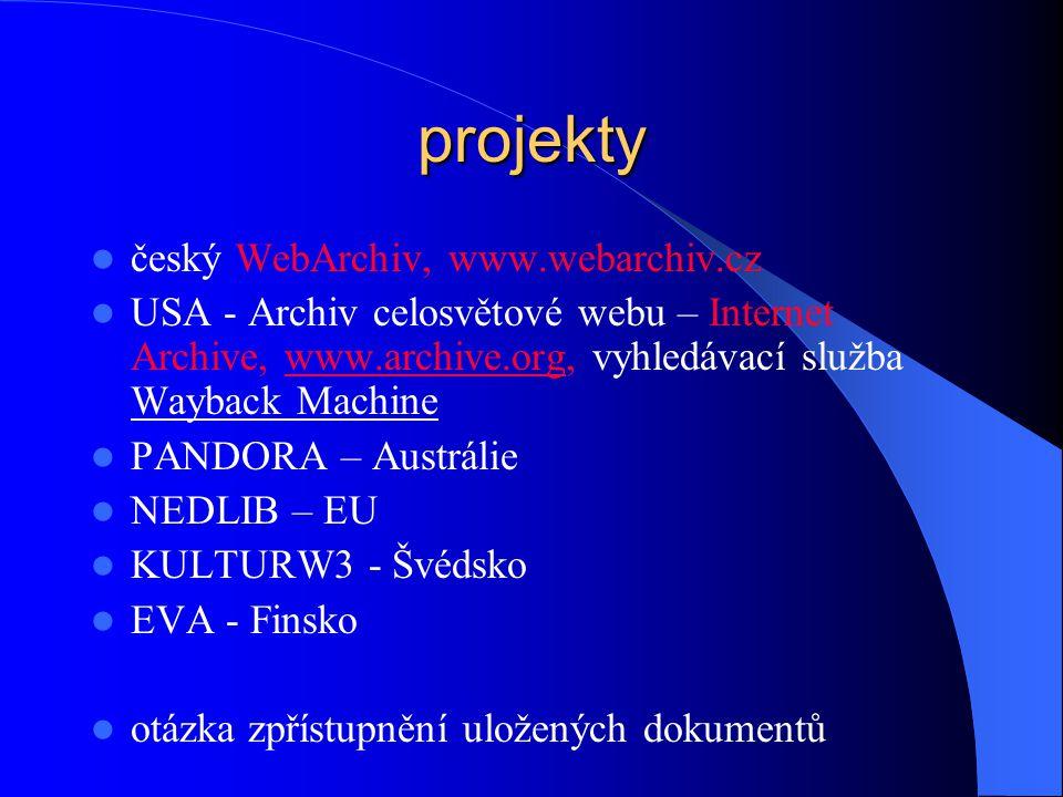 projekty český WebArchiv, www.webarchiv.cz