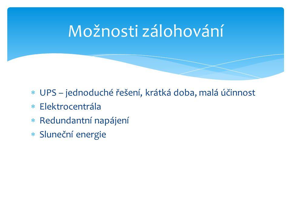 Možnosti zálohování UPS – jednoduché řešení, krátká doba, malá účinnost. Elektrocentrála. Redundantní napájení.