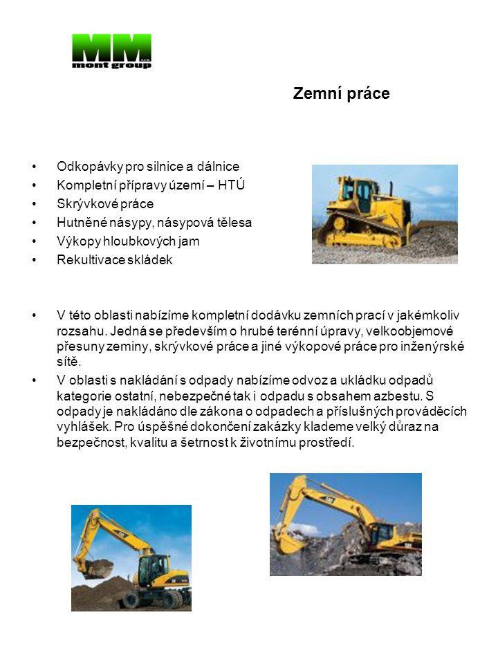 Zemní práce Odkopávky pro silnice a dálnice