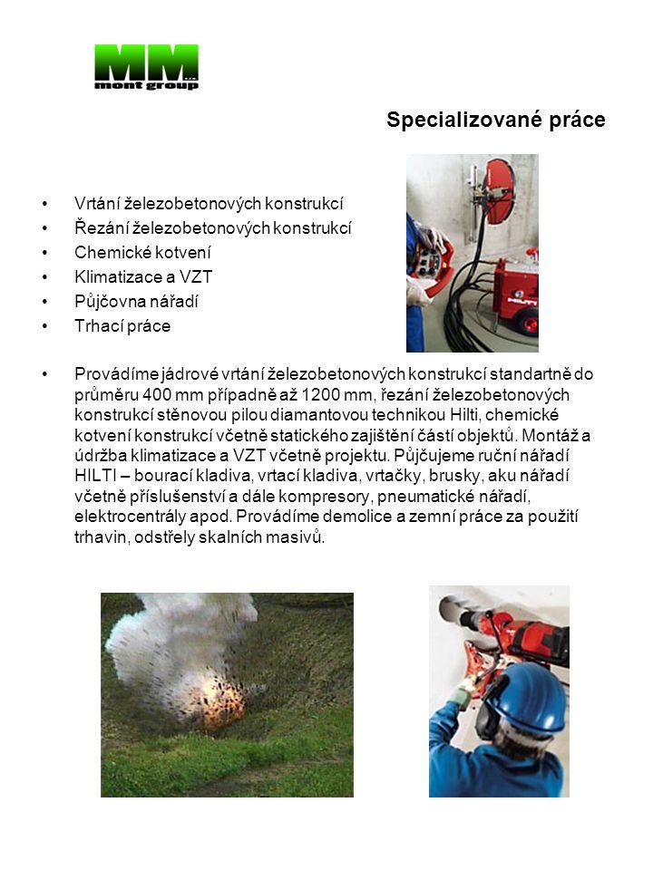 Specializované práce Vrtání železobetonových konstrukcí
