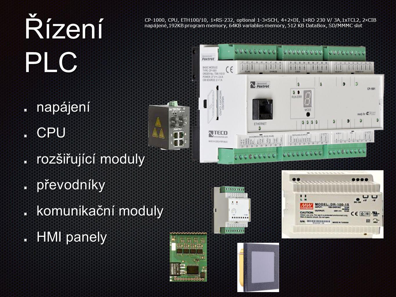 Řízení PLC napájení CPU rozšiřující moduly převodníky