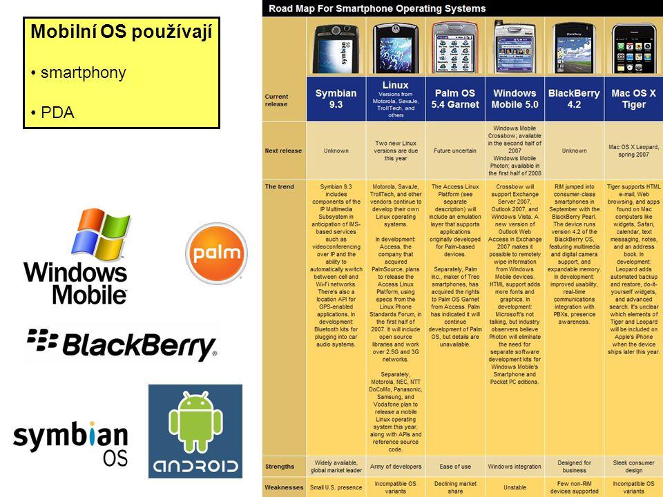 Mobilní OS používají smartphony PDA