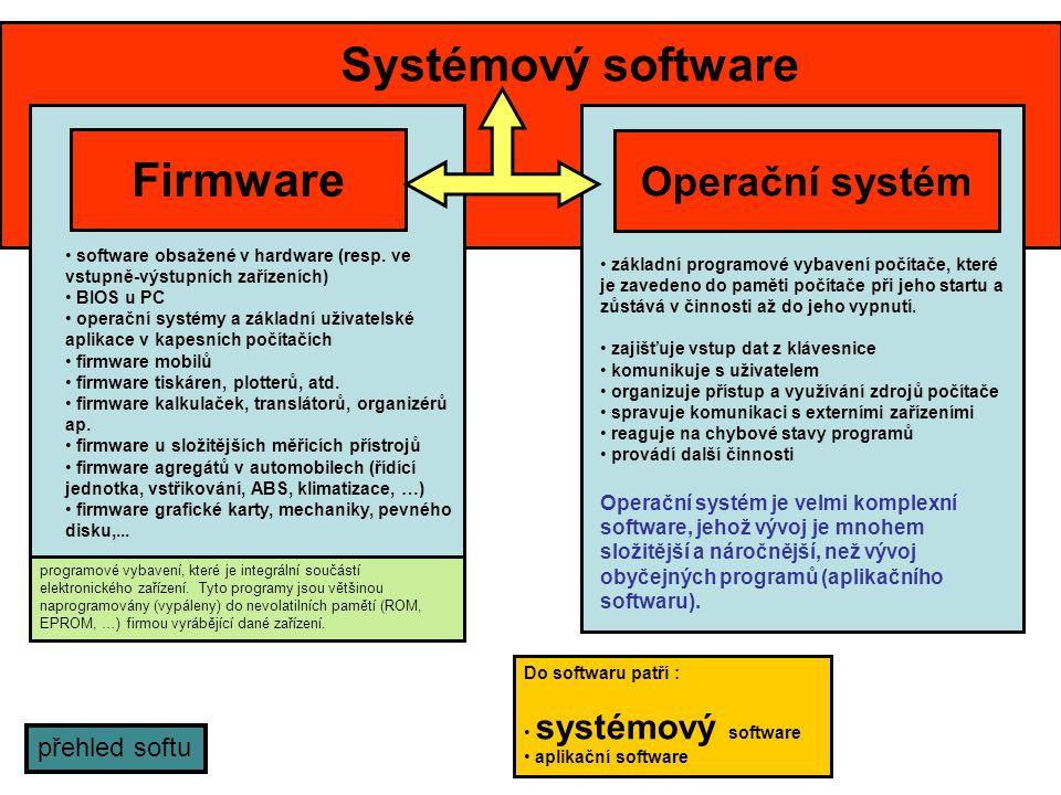Systémový software Firmware Operační systém přehled softu