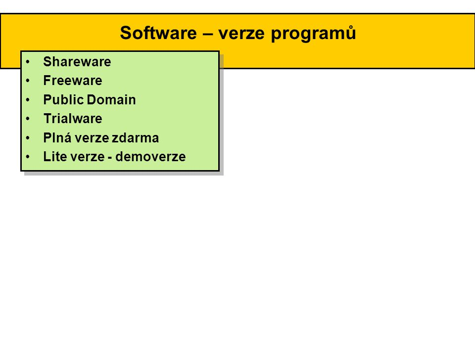Software – verze programů