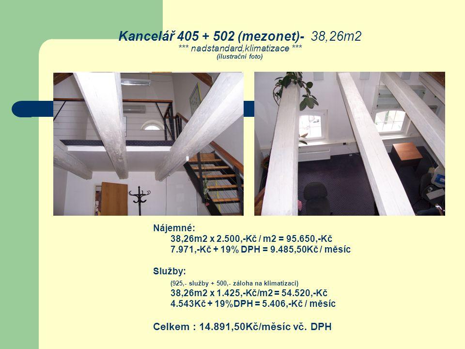 Kancelář 405 + 502 (mezonet)- 38,26m2. nadstandard,klimatizace