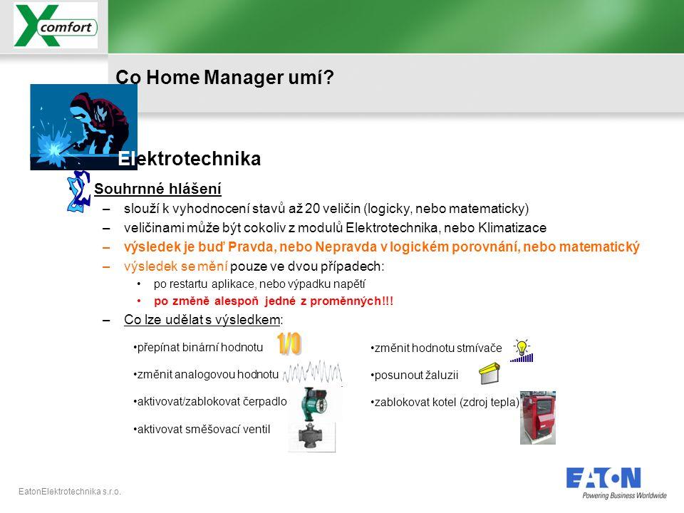 S 1/0 Co Home Manager umí Elektrotechnika Souhrnné hlášení