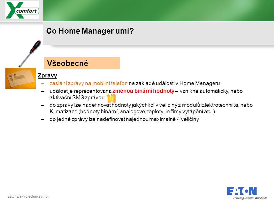 1/0 Co Home Manager umí Všeobecné Zprávy