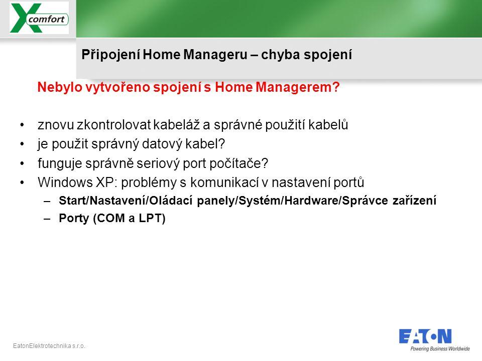 Připojení Home Manageru – chyba spojení