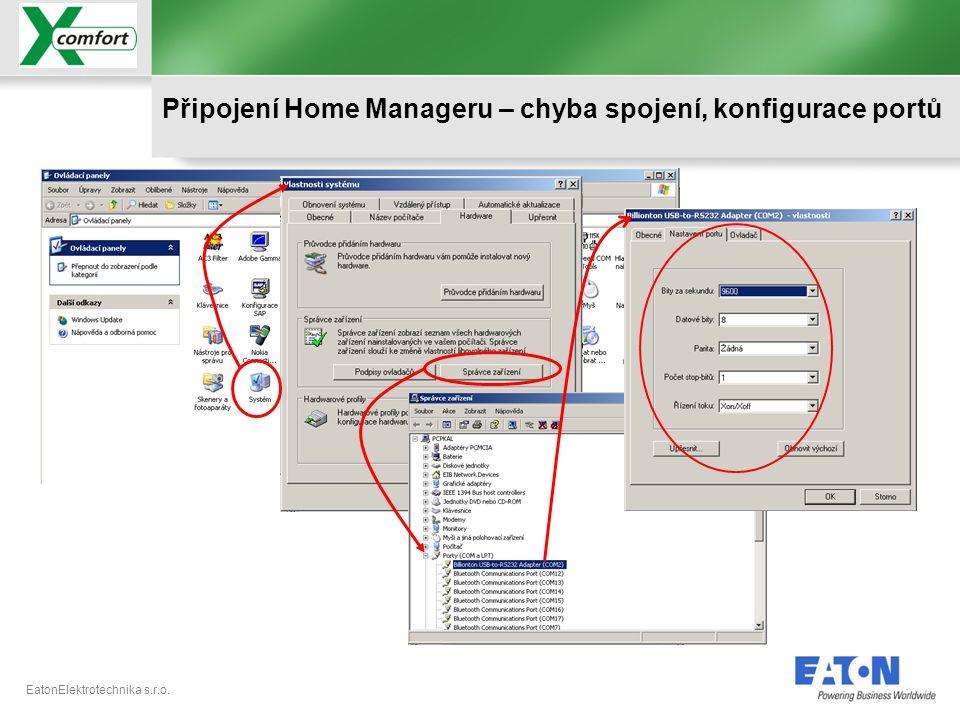 Připojení Home Manageru – chyba spojení, konfigurace portů