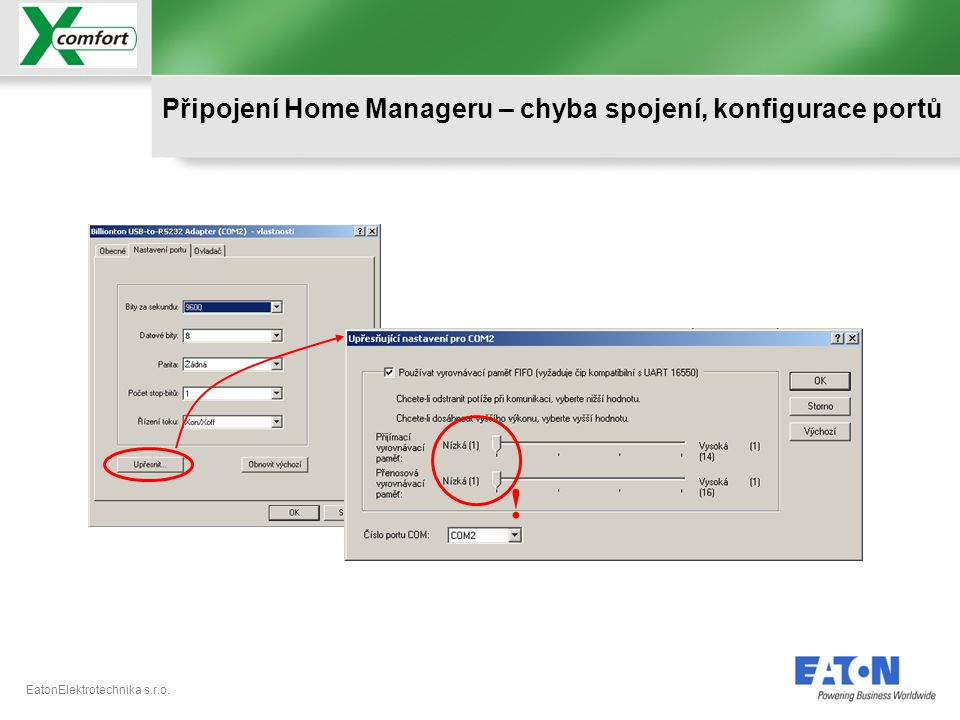 ! Připojení Home Manageru – chyba spojení, konfigurace portů