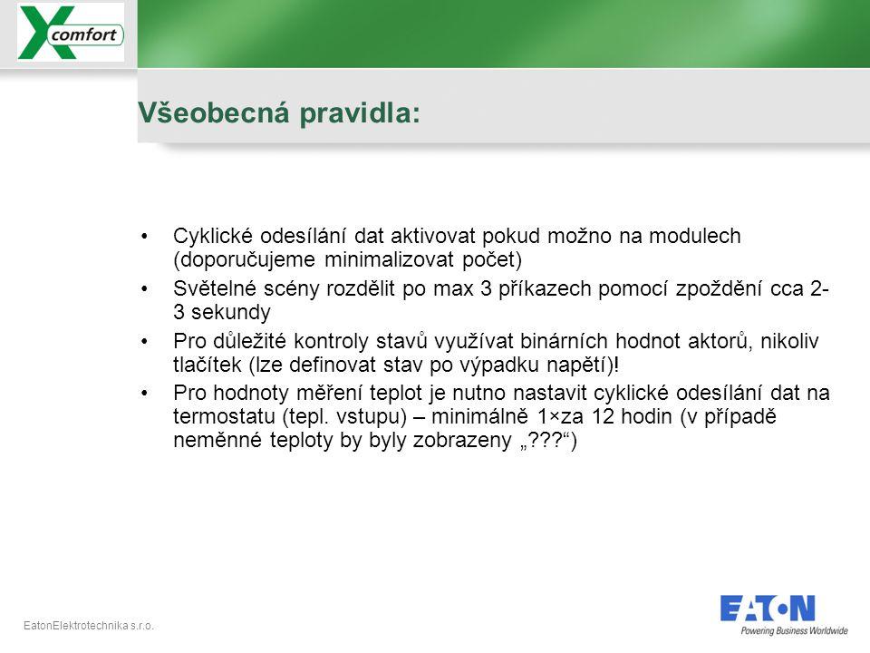 Všeobecná pravidla: Cyklické odesílání dat aktivovat pokud možno na modulech (doporučujeme minimalizovat počet)