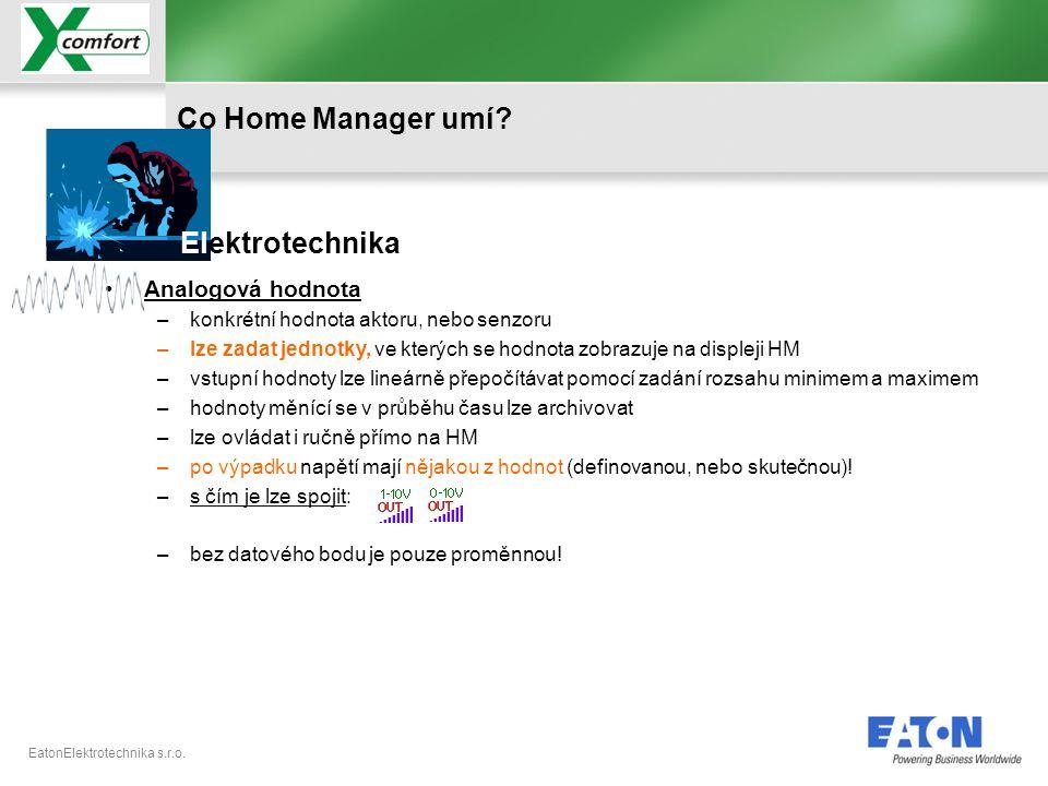 Co Home Manager umí Elektrotechnika Analogová hodnota