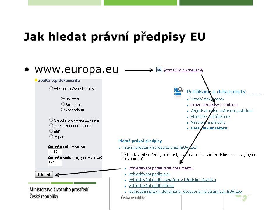 Jak hledat právní předpisy EU