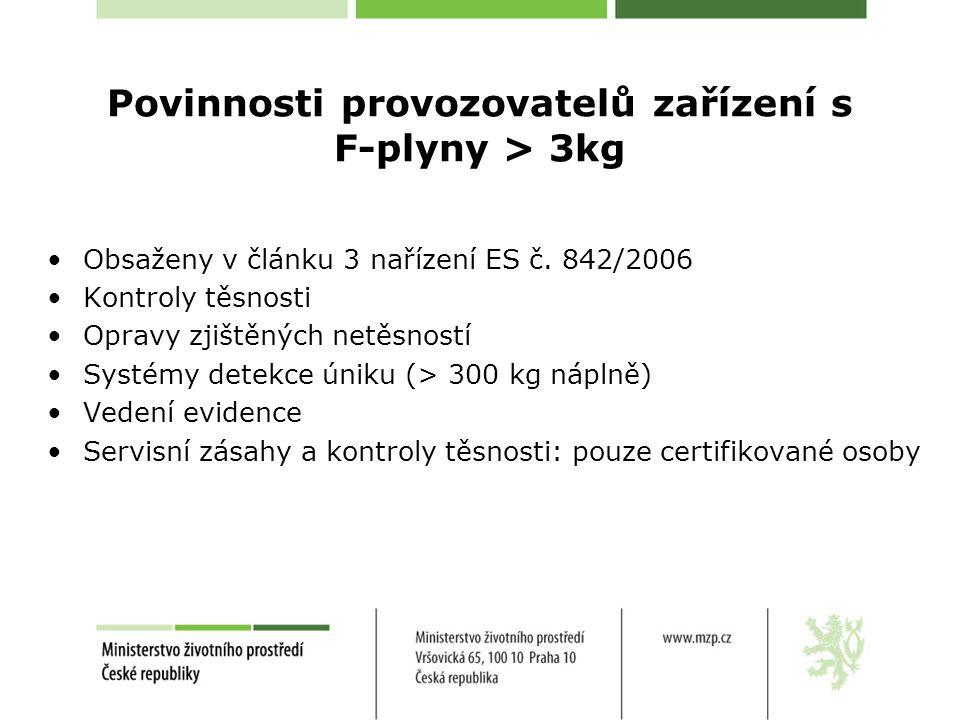 Povinnosti provozovatelů zařízení s F-plyny > 3kg