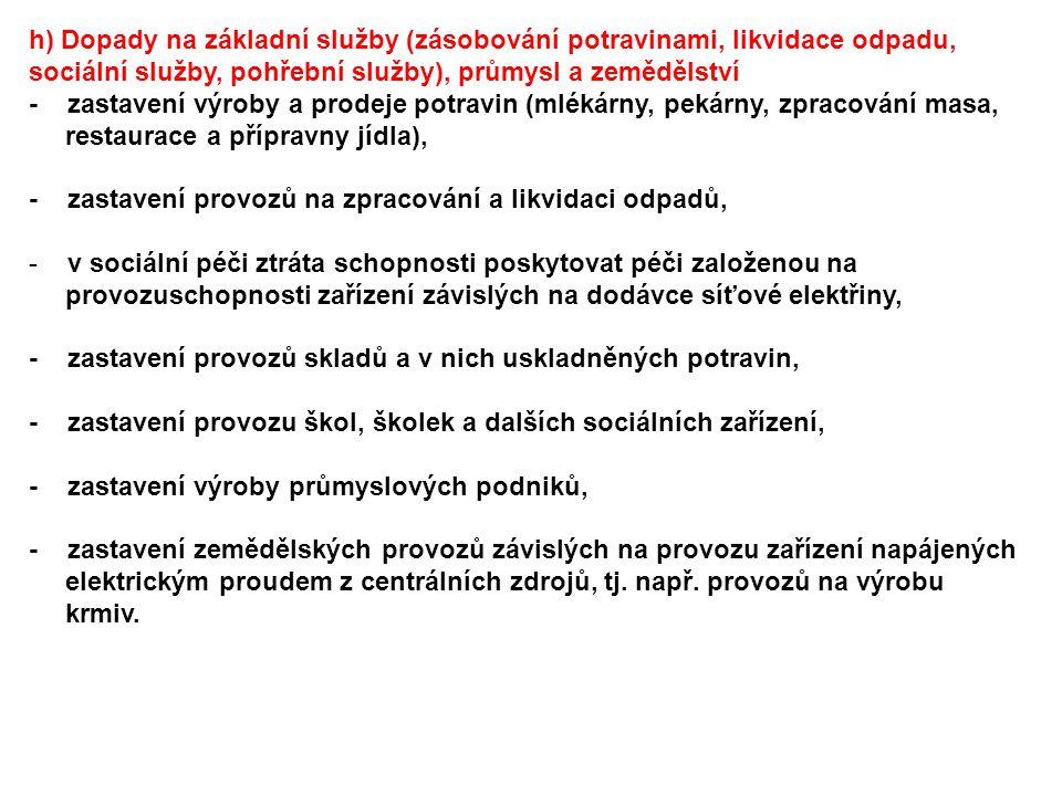 h) Dopady na základní služby (zásobování potravinami, likvidace odpadu, sociální služby, pohřební služby), průmysl a zemědělství