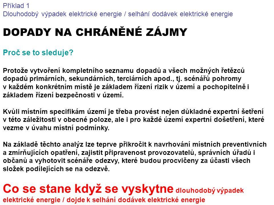 Příklad 1 Dlouhodobý výpadek elektrické energie / selhání dodávek elektrické energie. DOPADY NA CHRÁNĚNÉ ZÁJMY.