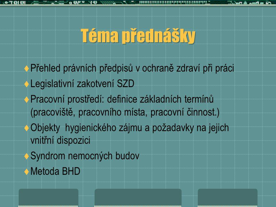 Téma přednášky Přehled právních předpisů v ochraně zdraví při práci