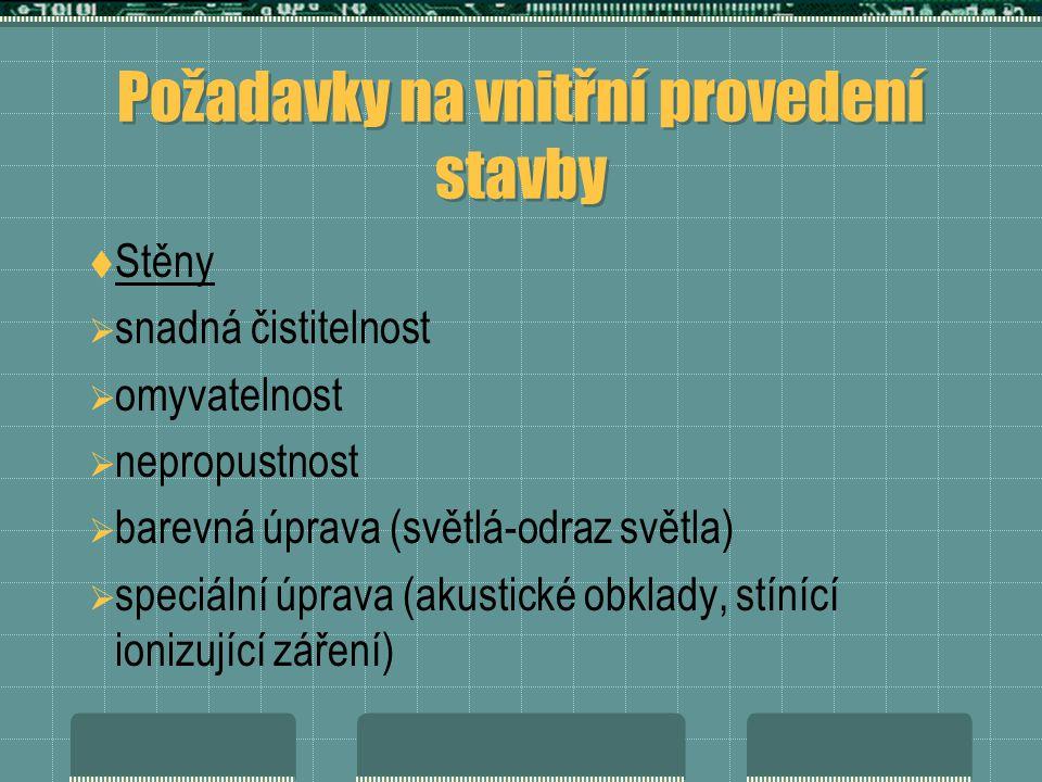 Požadavky na vnitřní provedení stavby