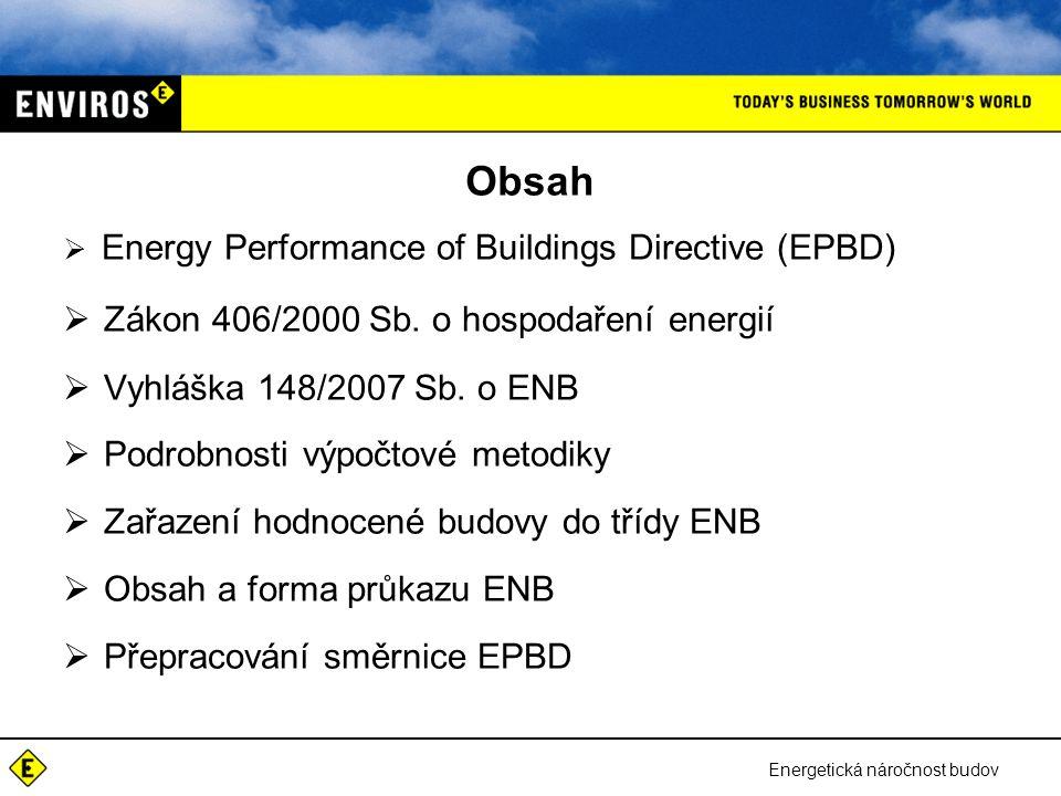 Obsah Zákon 406/2000 Sb. o hospodaření energií