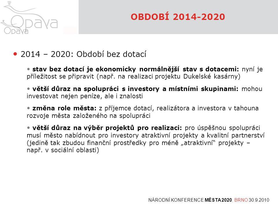 OBDOBÍ 2014-2020 2014 – 2020: Období bez dotací