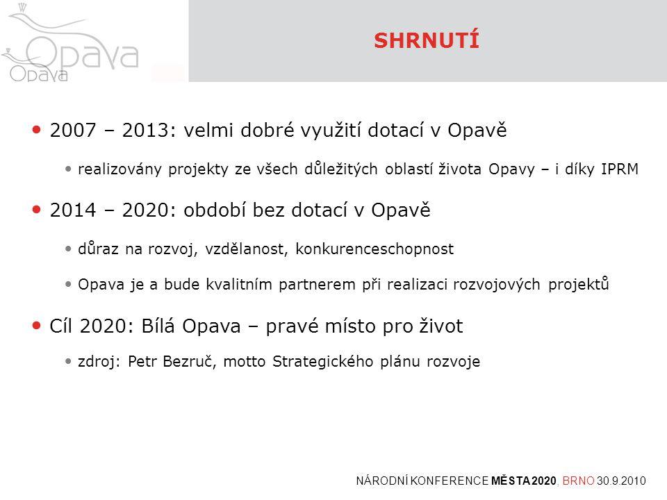 SHRNUTÍ 2007 – 2013: velmi dobré využití dotací v Opavě