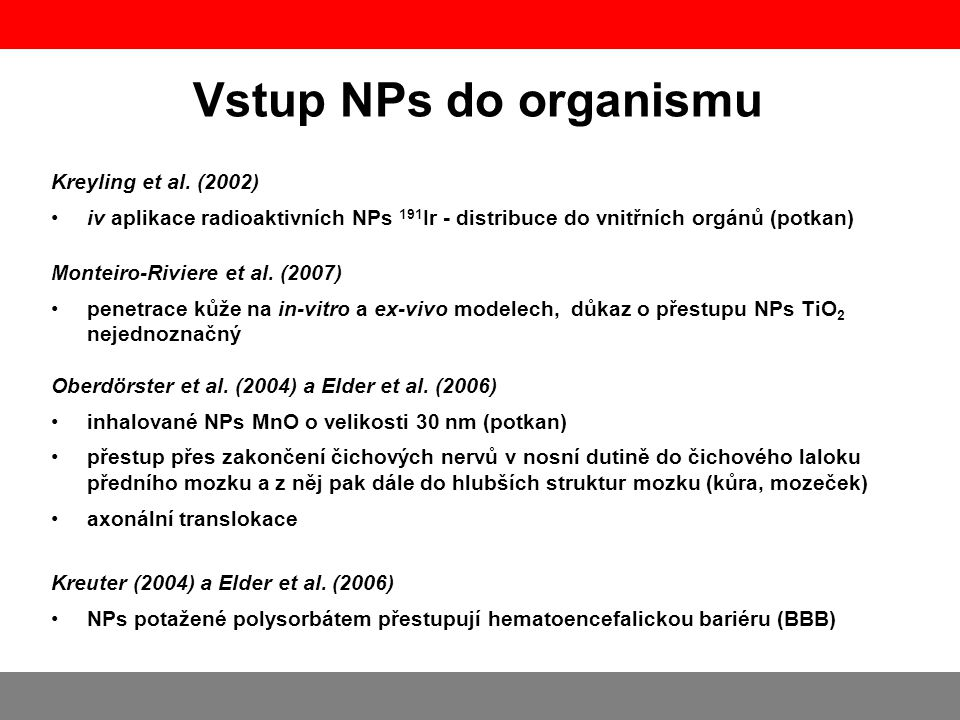 Vstup NPs do organismu Kreyling et al. (2002)