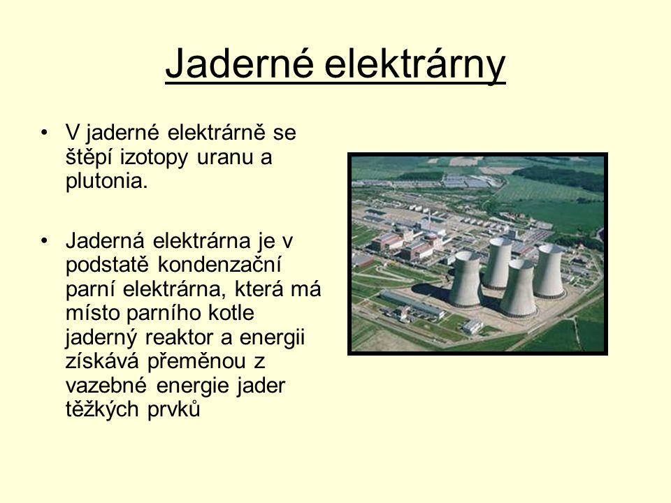 Jaderné elektrárny V jaderné elektrárně se štěpí izotopy uranu a plutonia.