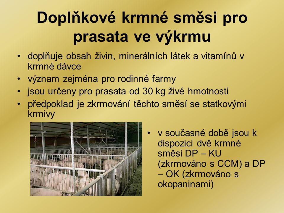 Doplňkové krmné směsi pro prasata ve výkrmu