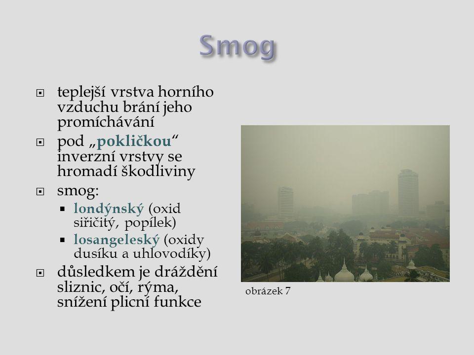Smog teplejší vrstva horního vzduchu brání jeho promíchávání