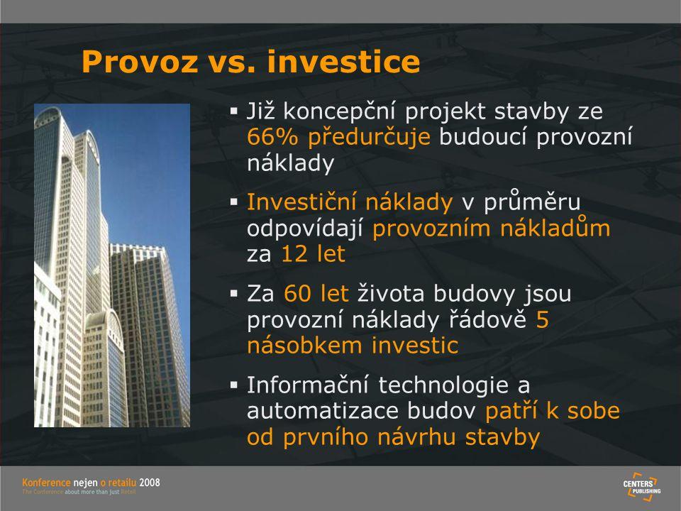 Provoz vs. investice Již koncepční projekt stavby ze 66% předurčuje budoucí provozní náklady.