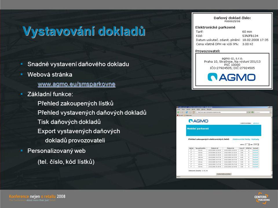 Vystavování dokladů Snadné vystavení daňového dokladu Webová stránka