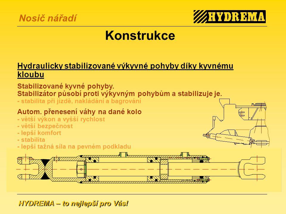 Konstrukce Hydraulicky stabilizované výkyvné pohyby díky kyvnému kloubu.