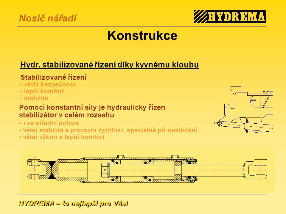 Konstrukce Hydr. stabilizované řízení díky kyvnému kloubu