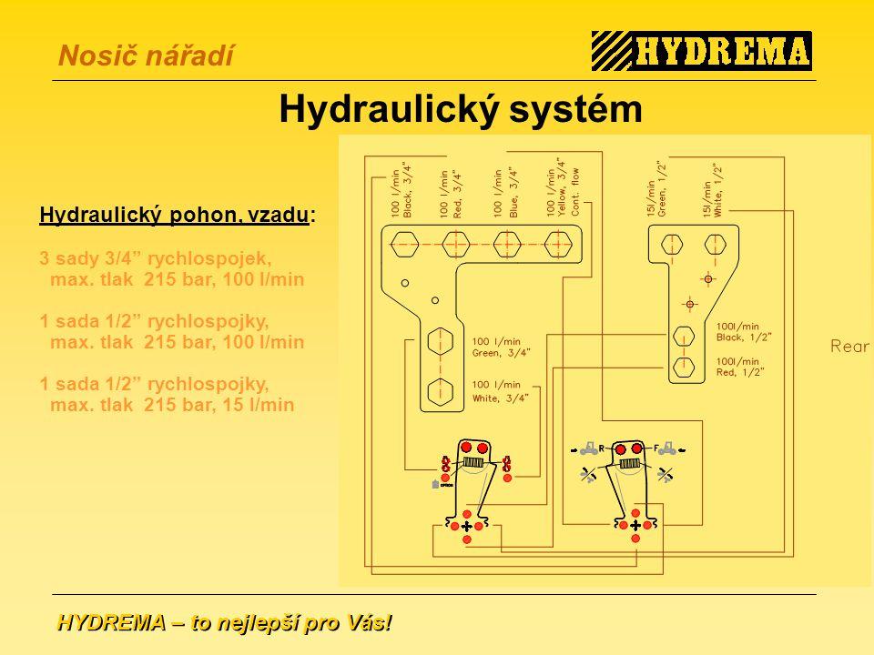 Hydraulický systém Hydraulický pohon, vzadu: 3 sady 3/4 rychlospojek,