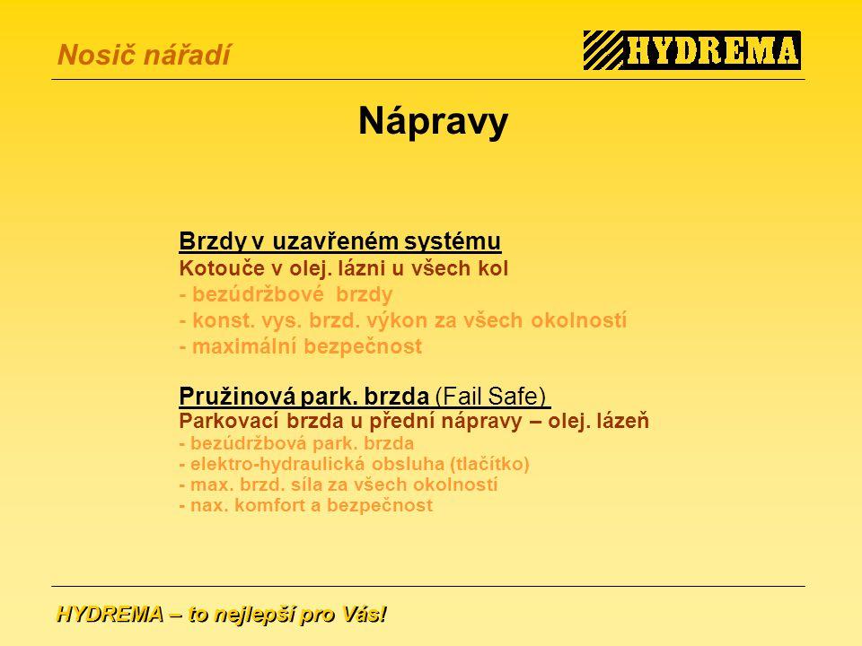 Nápravy Brzdy v uzavřeném systému Pružinová park. brzda (Fail Safe)