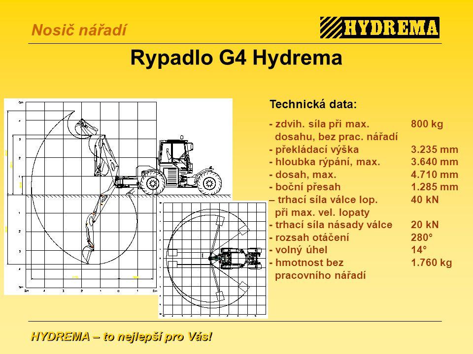Rypadlo G4 Hydrema Technická data: