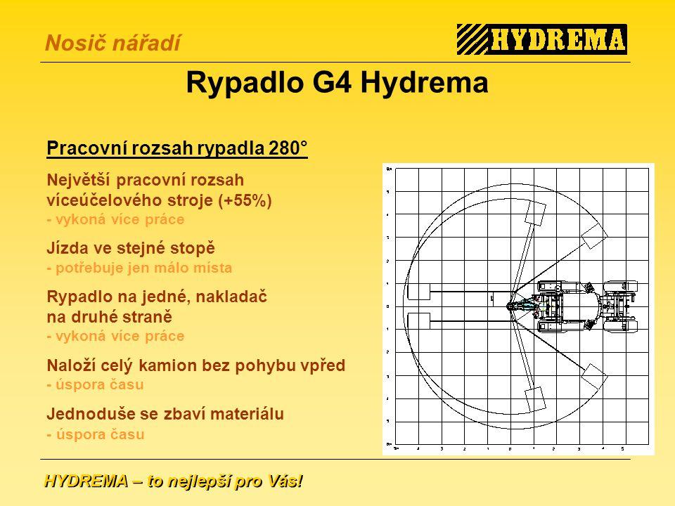 Rypadlo G4 Hydrema Pracovní rozsah rypadla 280°