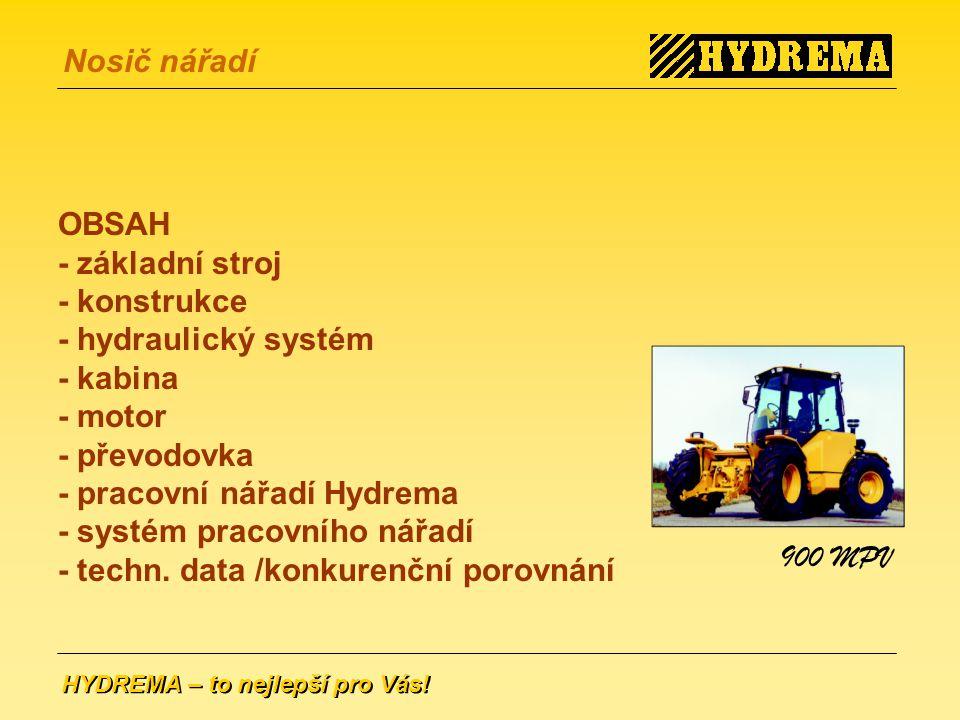 OBSAH - základní stroj. - konstrukce - hydraulický systém - kabina - motor - převodovka. - pracovní nářadí Hydrema.