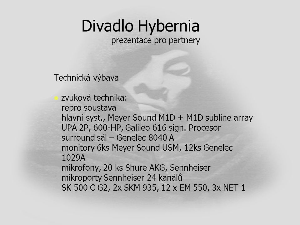 Divadlo Hybernia prezentace pro partnery
